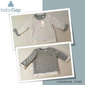 Gap Baby White Gray Thick Cotton Shirt 18-24M